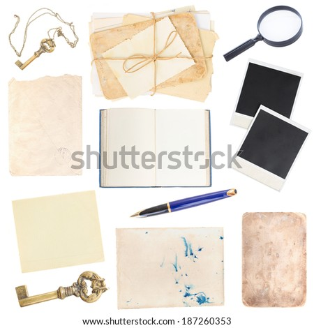 set of book, various old paper sheets and vintage photos isolated on white background