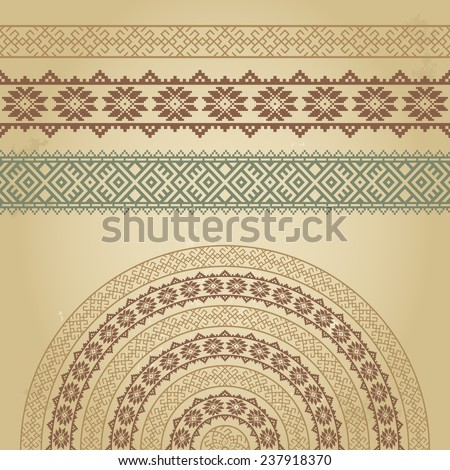 Set of borders and half-round with nordic ethnic ornaments. Colorful vector illustration on grunge background. Could be used for textile, web-design elements, book design, etc. Raster version  - stock photo