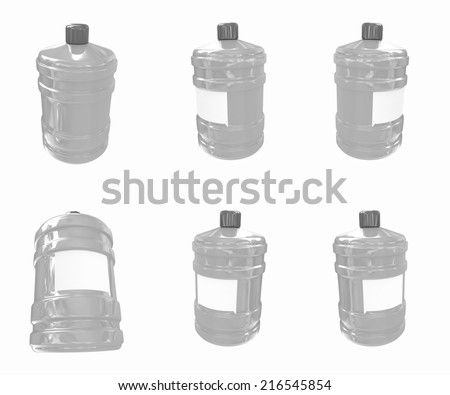 Set of bottle with clean blue water  on a white background - stock photo