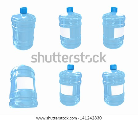 Set of bottles with clean blue water - stock photo