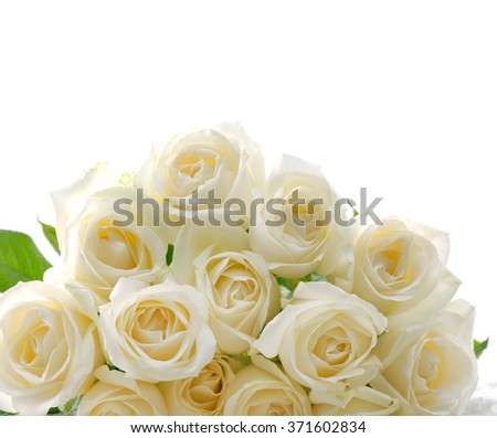 Set of bouquet white rose    - stock photo