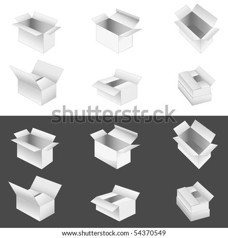set of 6 boxes. - stock photo