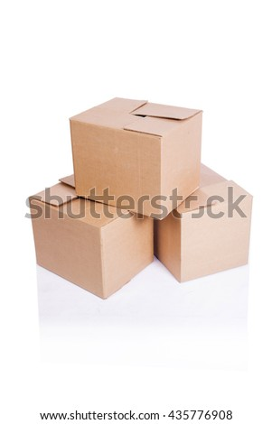 Set of boxes isolated on white - stock photo
