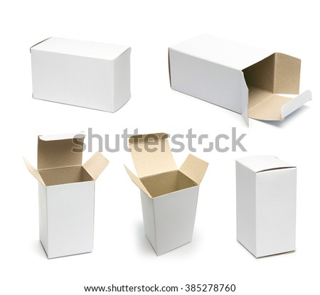 Set of boxes. White pasteboard box isolated on white. Mockup of white box. Collection of opened and closed boxes. Template for retail design ready for your design - stock photo