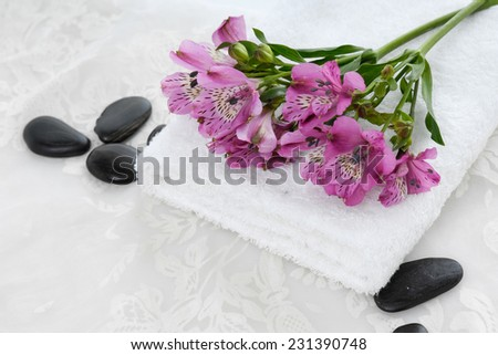Set of branch pink orchid ,towel with black stones and white lace  - stock photo