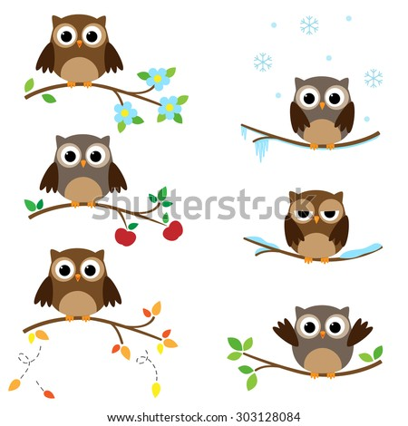 Set of branches with sitting owls. Different seasons of the year. Raster version - stock photo