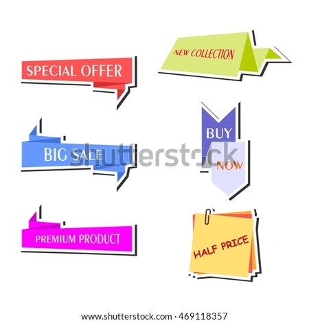 Set of bright and various stickers for marketing and sales.