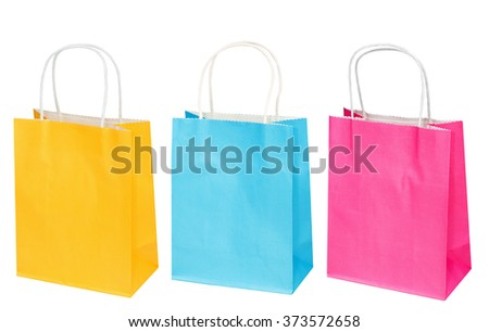 Set of bright blue, yellow, pink paper package, bag for gifts or purchases isolated on the white