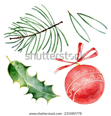 Set of bright christmas elements. Watercolor illustrations - stock photo
