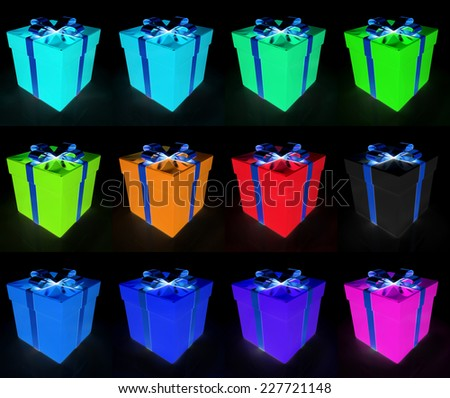 Set of bright christmas gifts on a black background  - stock photo