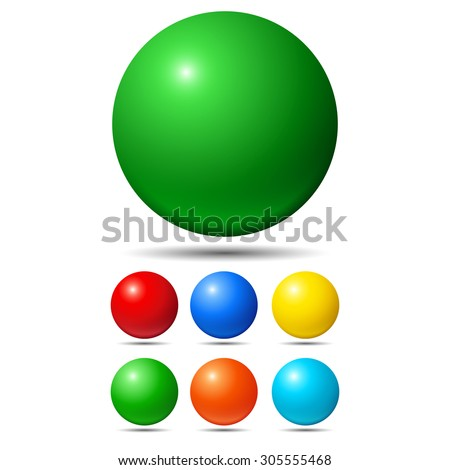 Set of bright colored balls. Green, red, yellow and cyan - stock photo