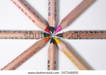 Set of bright colored pencils on a white background - stock photo
