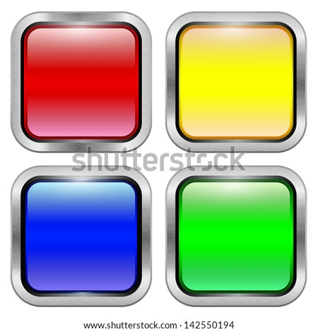 Set of bright glossy colored buttons. Raster copy of vector image