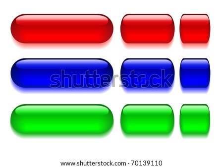 Set of bright, glossy web buttons. The similar image in my portfolio in vector format. - stock photo