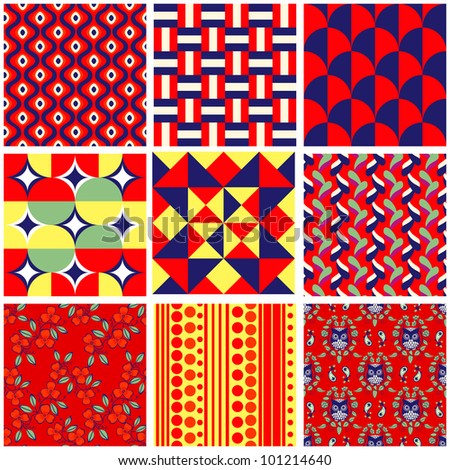 Set of 9 bright seamless pattern swatches - stock photo