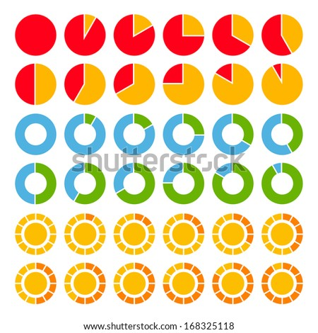 Set of brightly colored pie charts. - stock photo