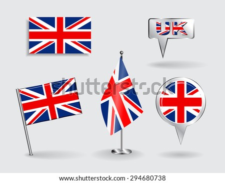 Set of British pin, icon and map pointer flags. Raster version - stock photo