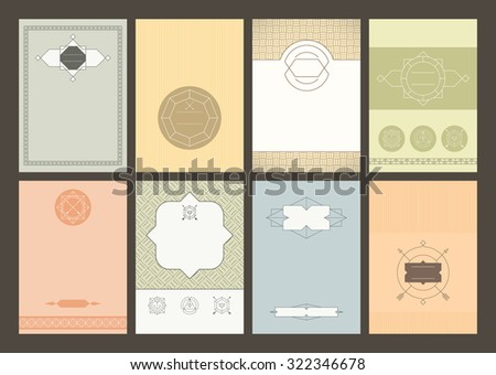 Set of brochures in vintage style. Geometric retro frames and backgrounds in hipster style. Can be used for flyer, booklet, menu, leaflet, placard, poster. Rasterized copy - stock photo