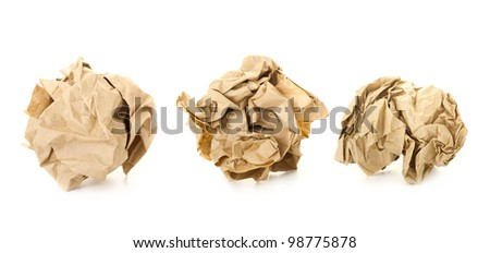 Set of  Brown Crumpled Paper Balls / isolated on white - stock photo
