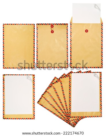 Set of brown envelope isolated over white background - stock photo