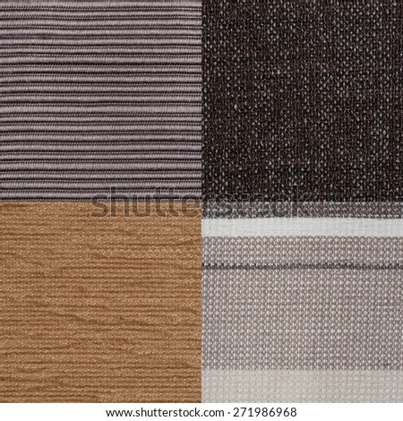 Set of brown fabric samples, texture background. - stock photo
