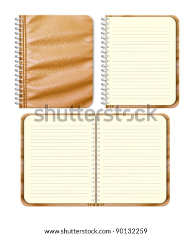 Set of Brown leather notebook on white background