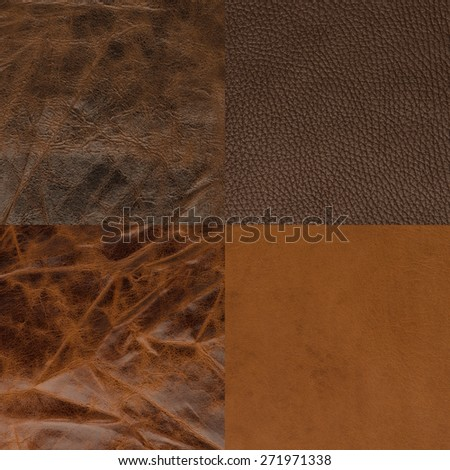 Set of brown leather samples, texture background. - stock photo