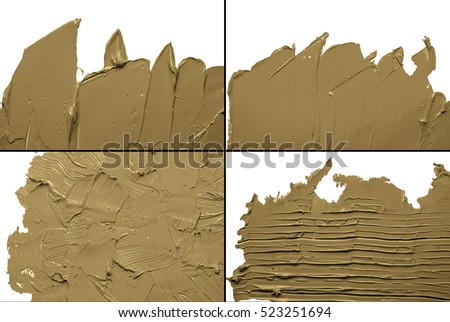 SET OF BROWN OIL PAINT BACKGROUND ON A WHITE PALETTE