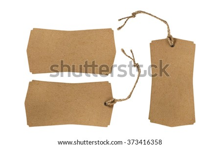 Set of brown paper tag with string isolated on white background. Empty paper price tag. - stock photo
