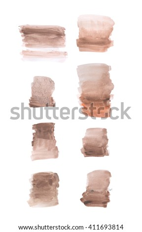 Set of brown rectangular hand painted watercolor blots, grunge watercolor background, watercolor wash, isolated on white - stock photo