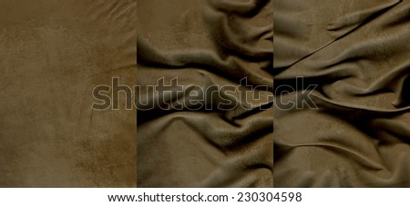 Set of brown suede leather textures for background - stock photo