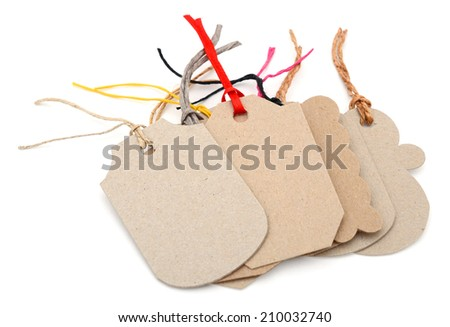 set of brown tag isolated on white background  - stock photo
