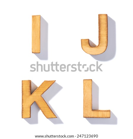Set of brown wooden symbols I, J, K, L with 45 degree long shadow as a real life flat design font elements, isolated over the white background - stock photo