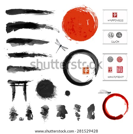 Set of brushes and other design elements, hand-drawn with ink in traditional Japanese style sumi-e. Red circle - symbol of Japan, enso zen circles, hieroglyphs, decorative stamps.  - stock photo
