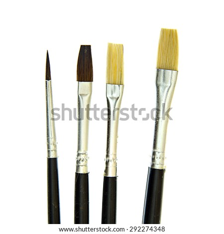 Set of Brushes for the Artist. Isolated on White Background. - stock photo