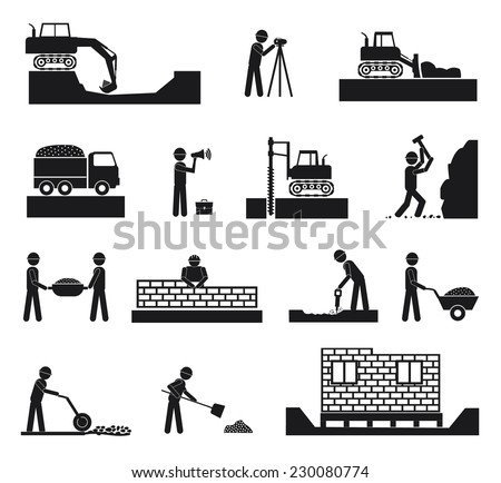 Set of builder construction industry management icons, civil engineering and management in black color on white background. Raster version - stock photo