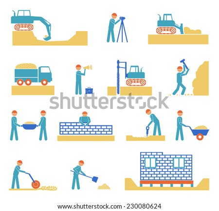 Set of builder construction industry management icons, civil engineering and management on white background. Raster version - stock photo
