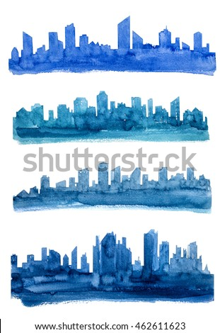 Set of Buildings. Skyscraper, city, house. Watercolor illustrations.