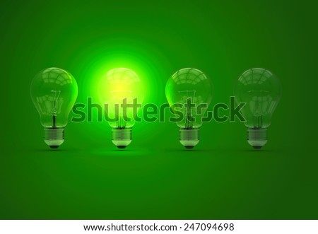 Set of bulbs. Ideea concept.  Turn on bulb on green background. 3d photorealistic render