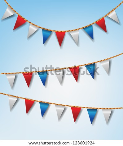 Set of Bunting Flags Red and White - stock photo