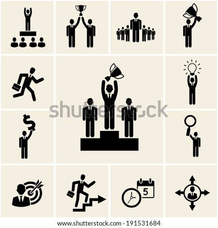 Set of business and career icons depicting achievement and reward with a man holding a trophy  winner  leadership  promotion  light bulb  dollar  magnifying glass  target  clock and calendar - stock photo