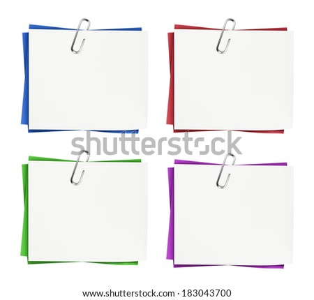 Set of business blank note paper for office, advertising and message with silver paper clip isolated on white background.