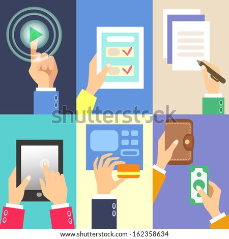 Set of business hands action concepts illustration. - stock photo