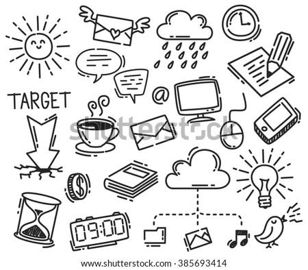 set of business icon doodle isolated on white background - stock photo