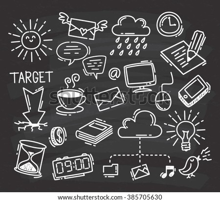 set of business icon doodle on chalkboard background - stock photo