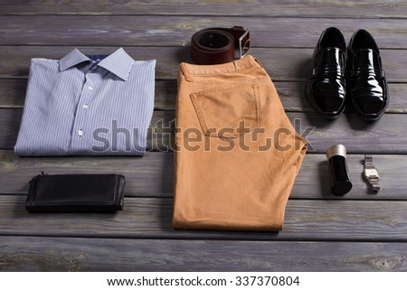 Set of business men's clothing and accessories. - stock photo