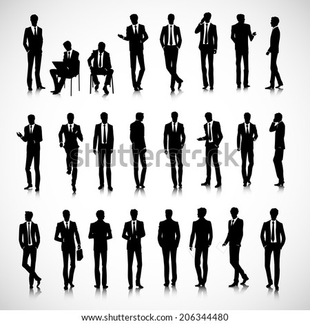 Set of business men silhouettes on background - stock photo