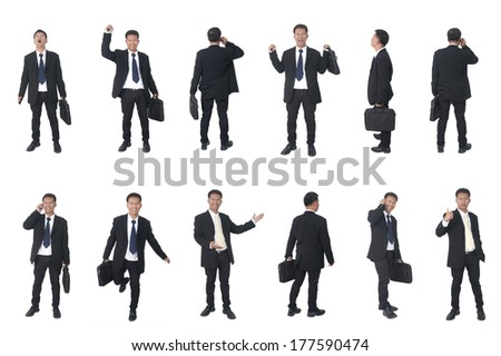 Set of business people isolated on white  - stock photo
