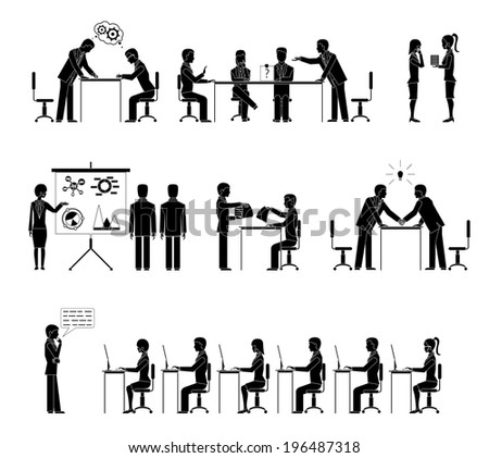 Set of business people silhouettes in meetings with a row of people seated at desks listening to a lecture  handshake  negotiations  conference  brainstorming  and discussions  illustration