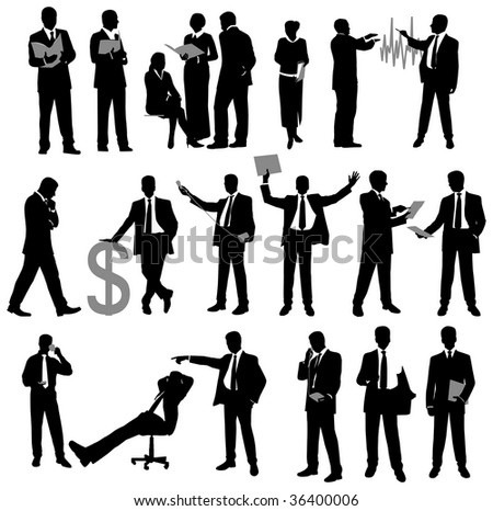Set of Business Silhouette. Raster version of vector illustration.